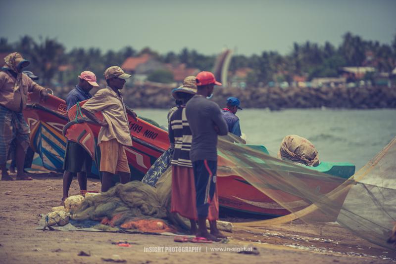 Fishermen after coming home in Negombo, Sri Lanka